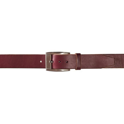 Mens Leather Belt In Burgundy With Gunmetal Buckle