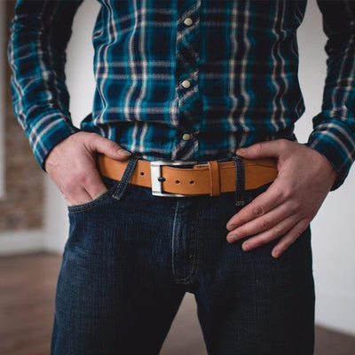 Men's Natural Tan Casual Designer Leather Belt-Gunmetal Style