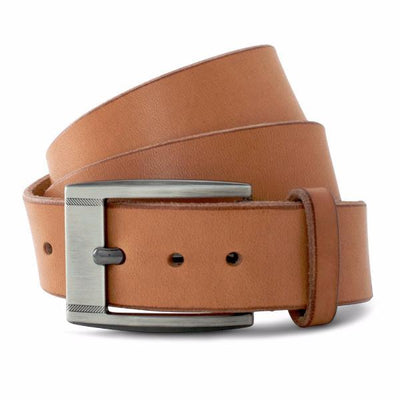 Natural Solid Leather Casual Belt-Gunmetal Buckle