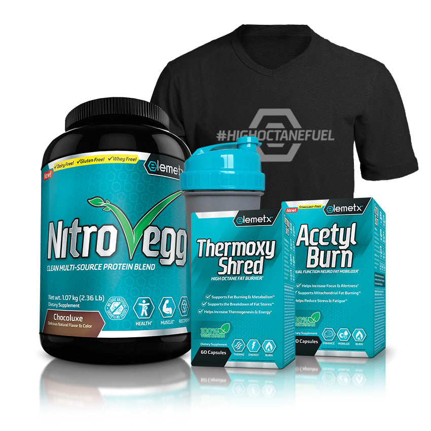 Team Elemetx stack Protein fat burners and tee shirt