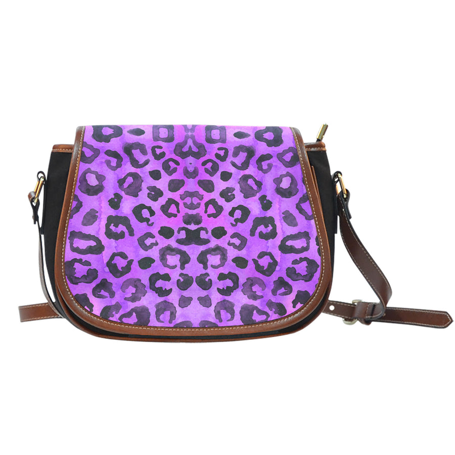 Purple Leopard Saddle Bag