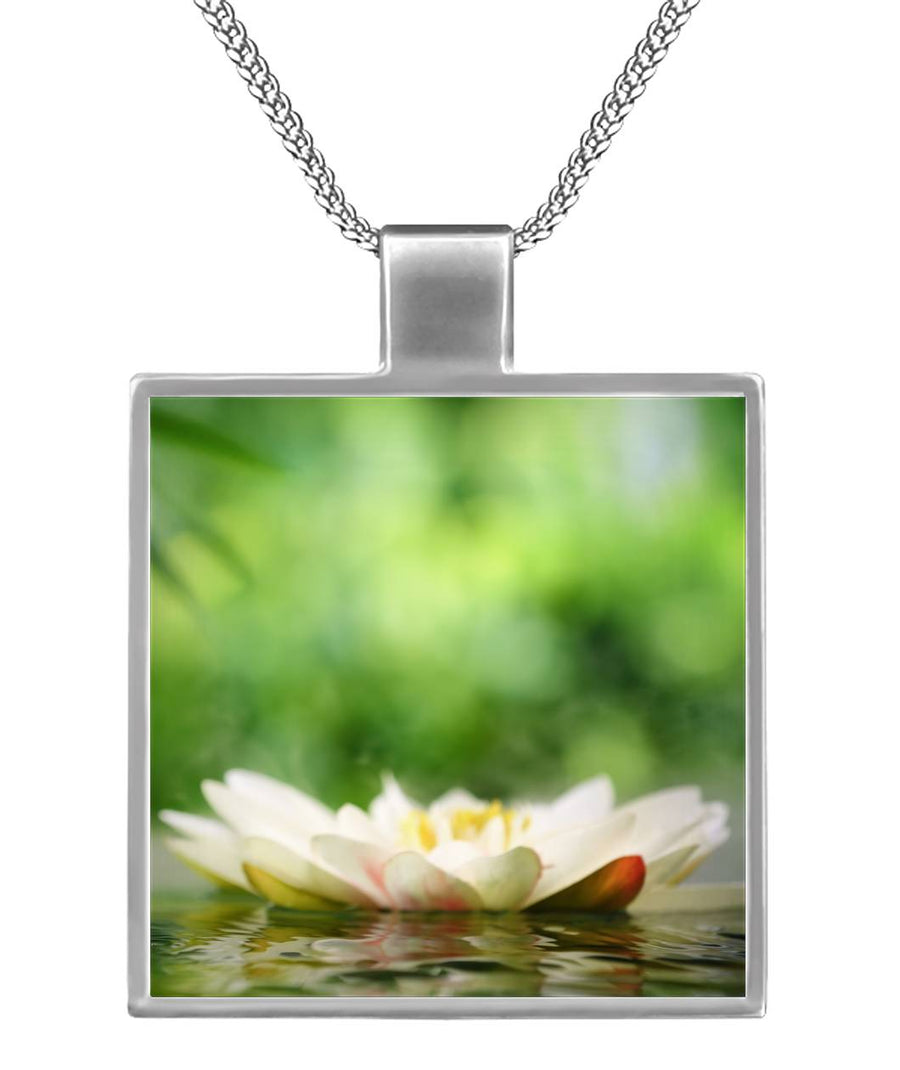 Zen White Lotus Square Necklace