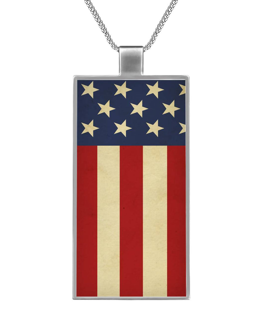 All American Born in USA Rectangle Necklace