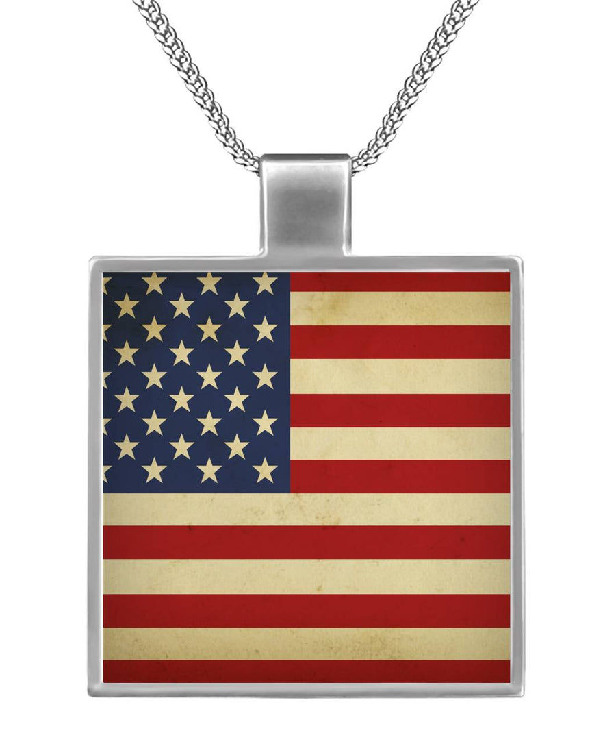 All American Born in the USA Square Necklace
