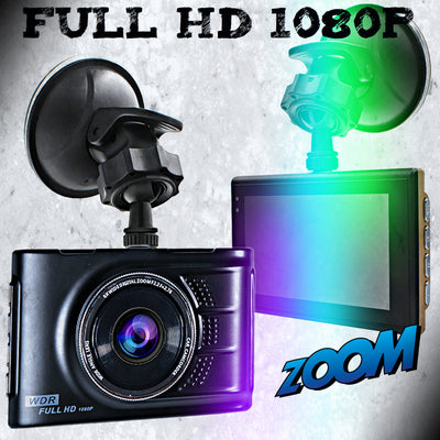 "3"" Wide Angle HD 1080P Dashcam w/ Infrared Night Viewer"