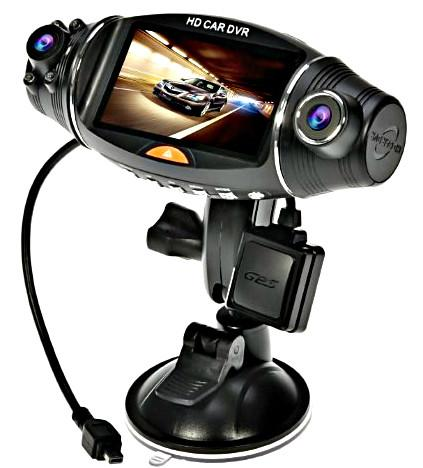 "2.7"" Dashcam w/ Front & Rear Lens - GPS Logger & Infrared Night Vision"