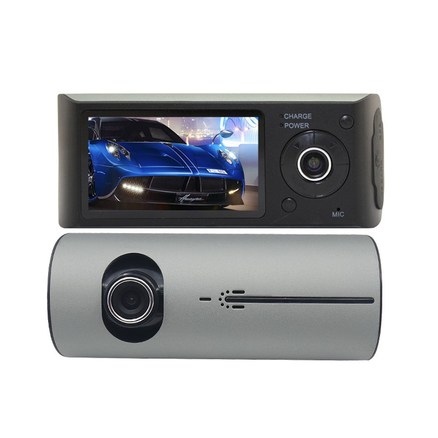 HD 720P 140 Degree Dual Lens Dash Cam Parking Monitor With GPS G-Sensor
