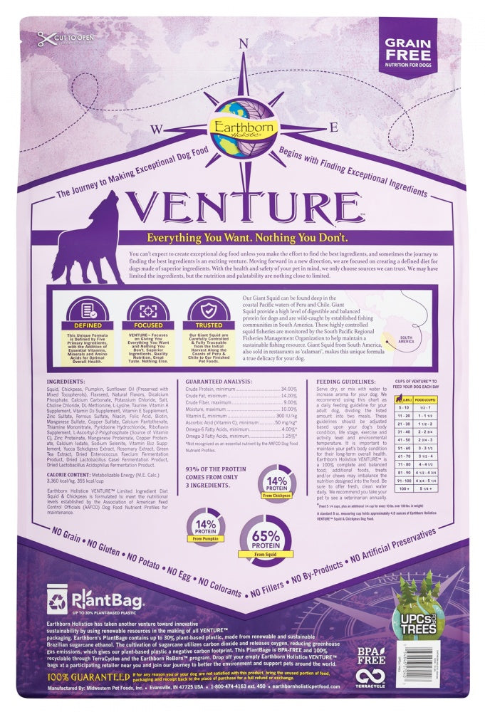 Earthborn Holistic Venture Grain Free Squid and Chickpea Dry Dog Food