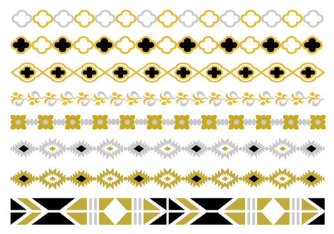ELLETatts Metallic Tattoos -- Black Aztec