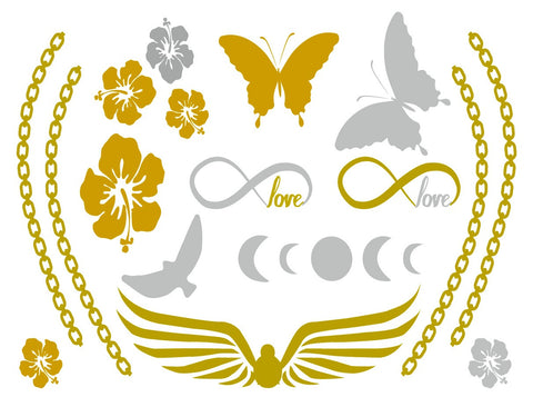 ELLETatts Metallic Tattoos -- Butterfly Love