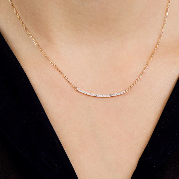 Curved Bar Necklace -- White Gold