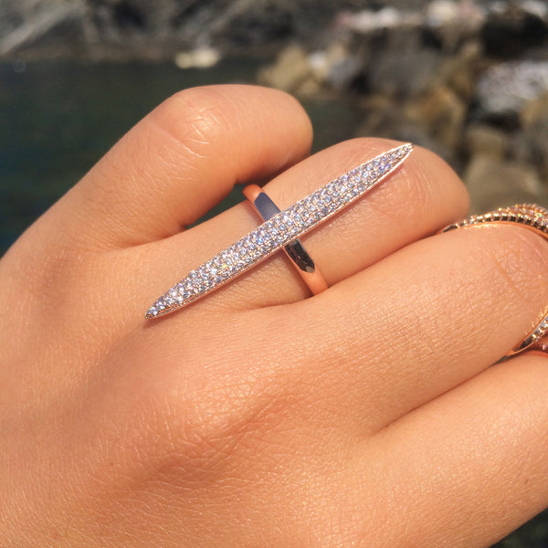 Long Oval Marquise Ring -- White Gold