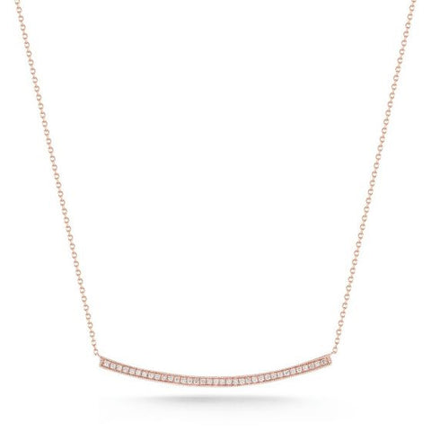 Curved Bar Necklace -- Rose Gold