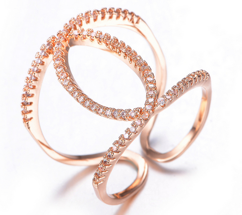 Infinity Double O Ring -- Rose Gold