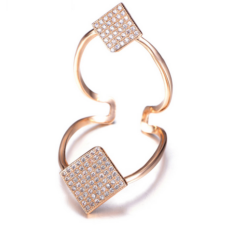 Double Floating Diamond Ring -- Rose Gold
