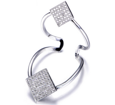 Double Floating Diamond Ring -- White Gold