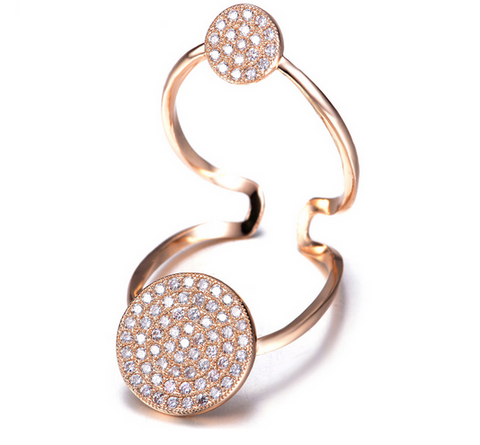 Double Floating Circle Ring -- Rose Gold