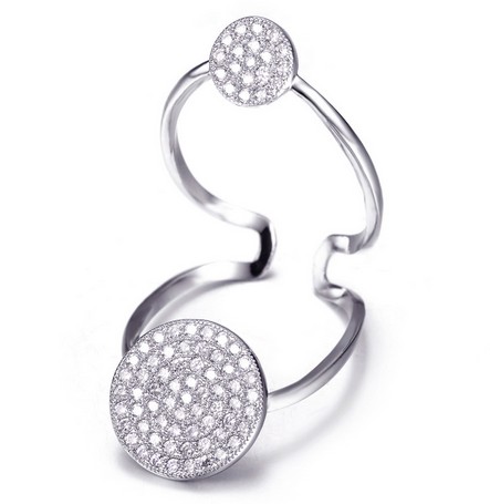 Double Floating Circle Ring -- White Gold