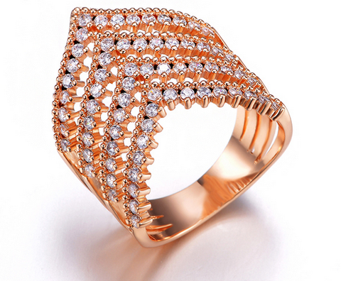 4 Stack V Ring -- Rose Gold