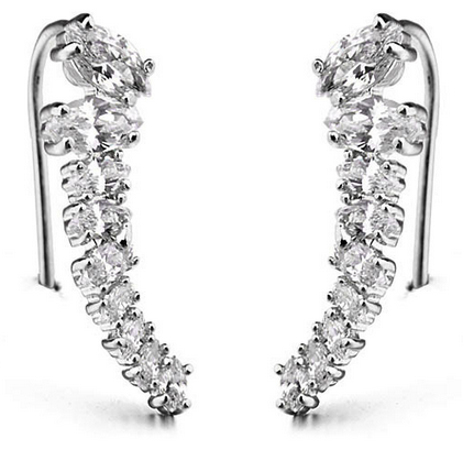 Marquise Floating Ear Cuff -- White Gold