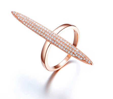 Long Oval Marquise Ring -- Rose Gold