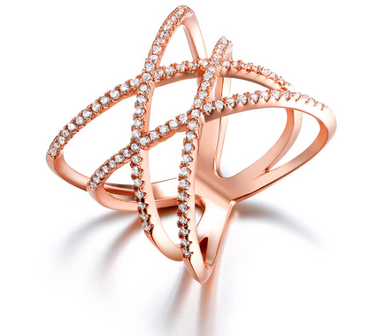 Double X Cross Ring -- Rose Gold