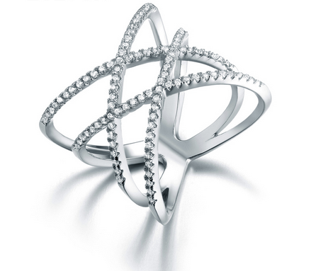 Double X Cross Ring -- White Gold