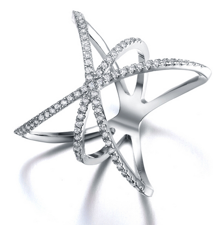 Saturn Star Ring -- White Gold