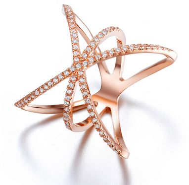 Saturn Star Ring -- Rose Gold