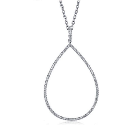 Tear Drop Necklace -- White Gold