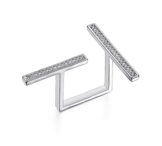 Double Bar T Ring -- White Gold