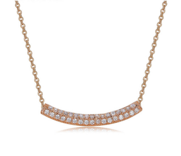 Double Curved Bar Necklace -- Rose Gold