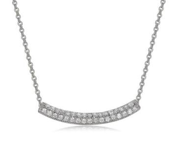 Double Curved Bar Necklace -- White Gold