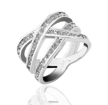 Double X Stack Ring -- White Gold