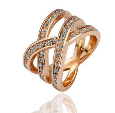 Double X Stack Ring -- Rose Gold