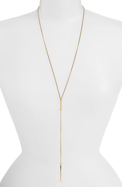 Bar Lariat Necklace -- White Gold