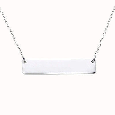 Solid Bar Necklace -- White Gold