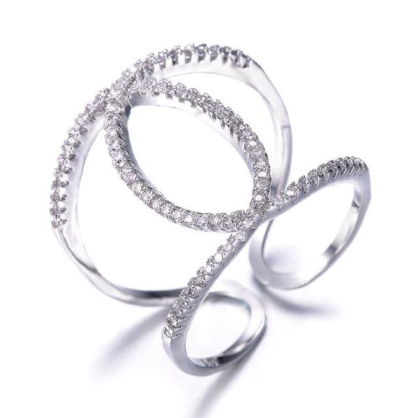Infinity Double O Ring -- White Gold