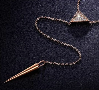Triangle Spike Lariat Necklace -- White Gold