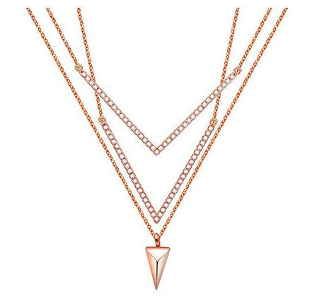 Triple V Chevron Necklace -- Rose & White Gold