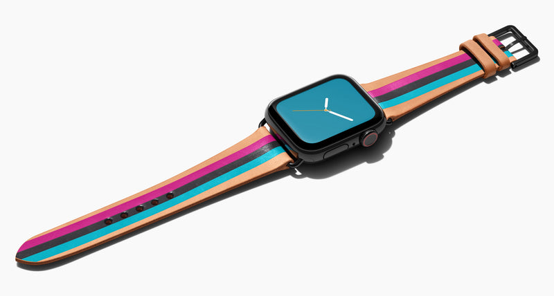 Strap for the Apple Watch handmade of natural vegetable tanned leather with three hand-painted stripes in magenta, black, aqua in women's length which measures: 105mm and 65mm. Hardware offered in gold, black, or silver in the small and large size. Price $400 plus shipping. Please reach out with any questions.
