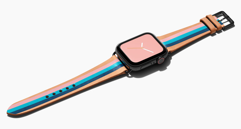 Strap for the Apple Watch handmade of natural vegetable tanned leather with three hand-painted stripes in petal pink, aqua, and navy in women's length which measures: 105mm and 65mm. Hardware offered in gold, black, or silver in the small and large size. Price $400 plus shipping. Please reach out with any questions.