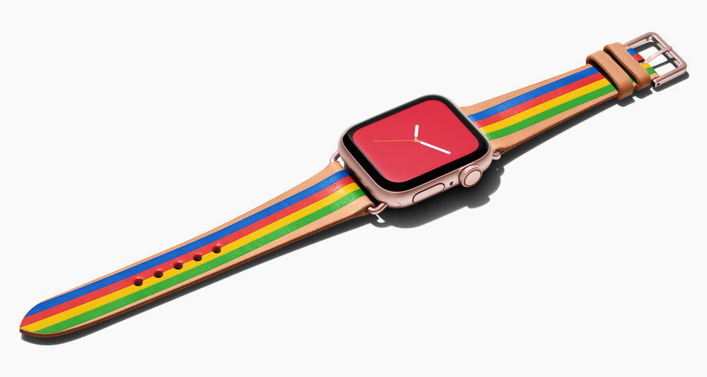 Strap for the Apple Watch handmade of natural vegetable tanned leather with four hand-painted stripes in royal blue, red, bright yellow, lime green in women's length which measures: 105mm and 65mm. Hardware offered in gold, black, or silver in the small and large size. Price $400 plus shipping. Please reach out with any questions.