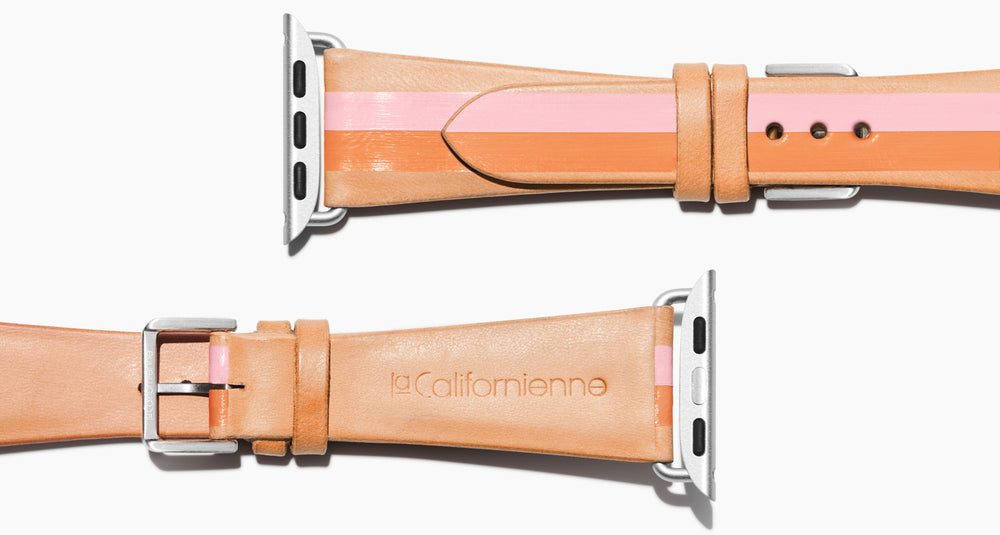 Strap for the Apple Watch handmade of natural vegetable tanned leather with a hand-painted PINK and ORANGE stripes in women's length which measure: 105mm and 65mm. Hardware offered in gold, black, or silver in the small and large size. Price $400 plus shipping. Please reach out with any questions.