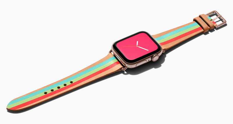 Strap for the Apple Watch handmade of natural vegetable tanned leather with a hand-painted Aqua/ Bright Green, and red stripes in women's length which measure: 105mm and 65mm. Hardware offered in gold, black, or silver in the small and large size. rice $400 plus shipping. Price $400 plus shipping. Please reach out with any questions.
