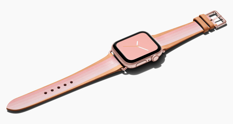 Strap for the Apple Watch handmade of natural vegetable tanned leather with a hand-painted PINK Ombré stripes (four stripes of dark petal pink to a light pink) in women's length which measure: 105mm and 65mm. Hardware offered in gold, black, or silver in the small and large size. Price $400 plus shipping. Please reach out with any questions.