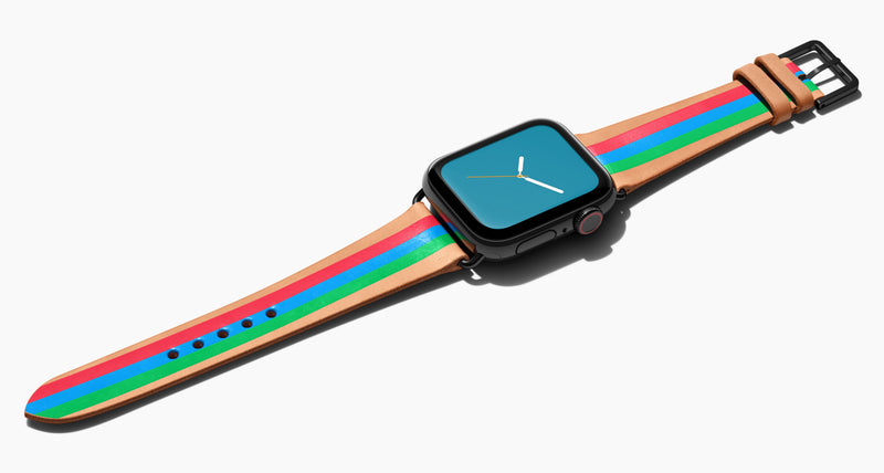Strap for the Apple Watch handmade of natural vegetable tanned leather with three hand-painted stripes in reddish pink, bright blue, bright green in women's length which measures: 105mm and 65mm. Hardware offered in gold, black, or silver in the small and large size. Price $400 plus shipping. Please reach out with any questions.