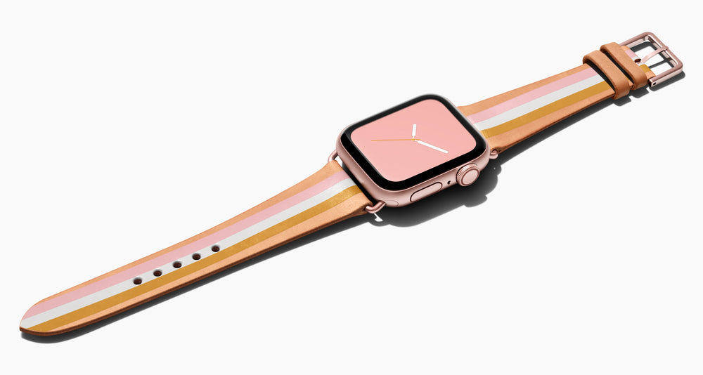 Strap for the Apple Watch handmade of natural vegetable tanned leather with a hand-painted with PINK, white and mustard stripes in women's length which measure: 105mm and 65mm. Hardware offered in gold, black, or silver in the small and large size. Price $400 plus shipping. Please reach out with any questions.