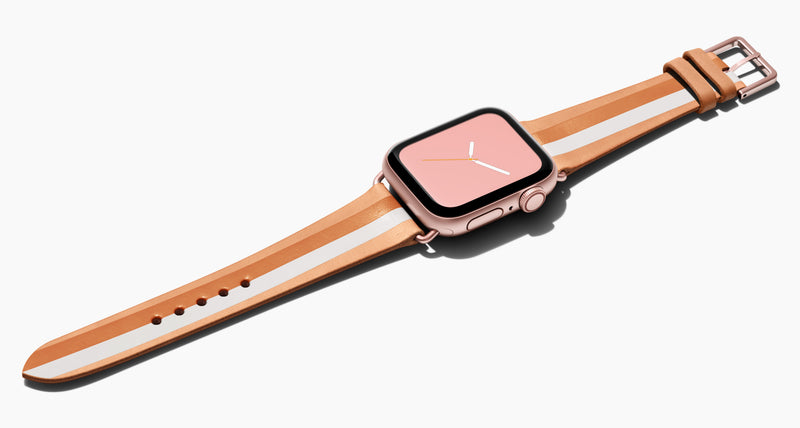 Strap for the Apple Watch handmade of natural vegetable tanned leather with a hand-painted Rose Gold metallic and whitE stripes in women's length which measure: 105mm and 65mm. Hardware offered in gold, black, or silver in the small and large size. Price $400 plus shipping. Please reach out with any questions.