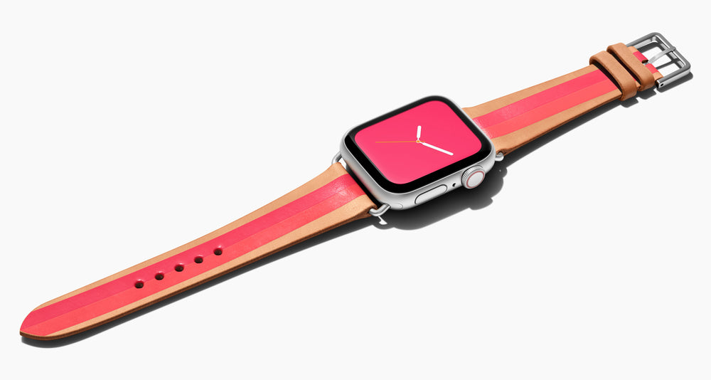 Strap for the Apple Watch handmade of natural vegetable tanned leather with a hand-painted  Bright reddish pink and bright pinky coral stripes in women's length which measure: 105mm and 65mm. Hardware offered in gold, black, or silver in the small and large size. Price $400 plus shipping. Please reach out with any questions.